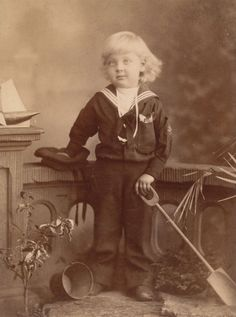 Little Boy in Sailor Suit, Sailboat, Pail and Shovel, Antique Victorian Photo, South Africa... for sale by Anemone Antiques on Ruby Lane