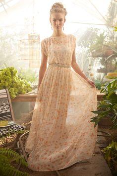Peach Blossom Maxi Dress - anthropologie.com DIY tutorial: http://seecatecreate.com/easy-breezy-kimono-ish-maxi-dress/