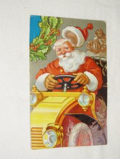 Postcard Santa Driving Car Very Colorful by dayspringcollectible