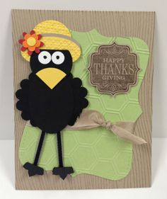 Crow Punch Art Stampin Up Thanksgiving Card Kit (5 Cards)