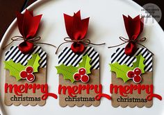 Christmas Tags by Jen del Muro. Reverse Confetti stamp set Winter Word Coordinates. Confetti Cuts: Winter Words, Holly, and Thanks Tag.