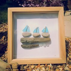 'Sail Boats' . Driftwood ,stone, seaglass & tumbled glass, make up this vibrant locally sourced picture from GreenFox