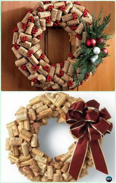 DIY Wine Cork Wreath Instructions- #Christmas #Wreath Craft Ideas Holiday Decoration