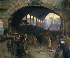 Victoria Station, 1918: The Green Cross Corps (Women's Reserve Ambulance), Guiding Soldiers on Leave. Clare Atwood (1886-1962)