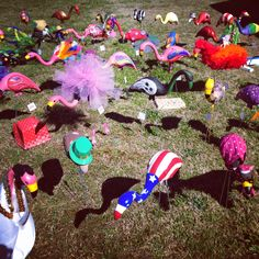 """Tiger Apple Twist: Preview """"YOUTH ART MONTH""""  Painted Plastic Flamingos at MES. The FLOCK."""