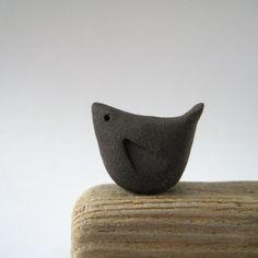 Blackbird Handmade Ceramic Bird Black Stoneware Clay by judeallman