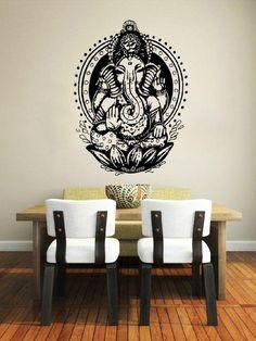 Wall Decal Lotus Flower Om Sign Symbol Vinyl Sticker Mural Yoga