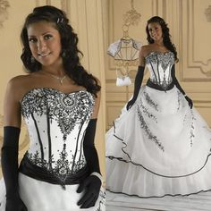 Vintage Black And White Wedding Dresses Ball Gown Soft Sweetheart Sleeveless Embroidery Lace Floor Length Corset Victorian Bridal Gowns Online with $198.96/Piece on Weddingfactory's Store   DHgate.com