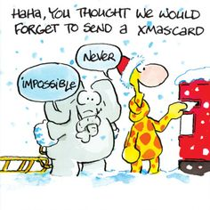 Giraffe en olifant in de knoop met kerst- Greetz