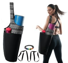 Yoga Mat Bag by ComfyCarry - Sling Tote Mat Carrier - Zippered Inner Pockets - Large 14OZ Cotton Fitting Most Mat Sizes - Includes FREE Yoga Mat Shoulder Strap & Yoga Chakra Bracelet as Gift. BEST YOGA MAT TOTE - Our Gender Neutral, Eco Friendly, Most Durable, Smooth Premium quality 14 Oz cotton canvas is lightweight and durable, easy to use, comfortable and stylish; great for yoga, Pilates and the gym, also a wonderful beach bag or everyday tote. SMART DESIGN - Deep yoga mat carrier…
