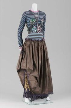 Woman's two-piece evening ensemble, Geoffrey Beene, 1992, American; Wool jersey, silk plain weave (taffeta), net and lace with silk satin piping; net embroidered and appliquéd with chenille, sequins, glass beads
