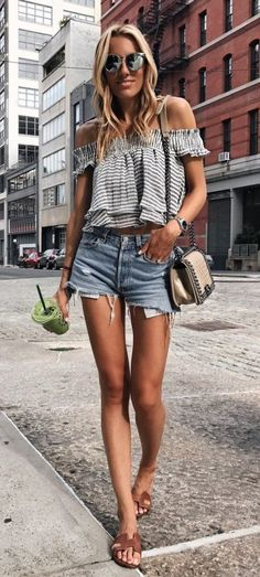 #Summer #Outfits / Off the Sholuders Striped top + Denim Short Shorts
