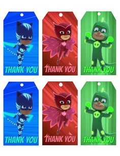 PJ MASKS Thank You Tags-Pj Masks Birthday by HappyKidsPrint