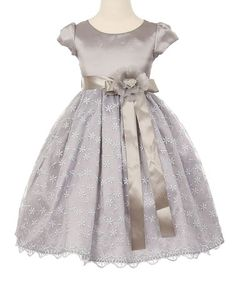 Another great find on #zulily! Silver Floral Cap-Sleeve Dress - Toddler & Girls #zulilyfinds