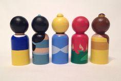 Princess peg dolls 5pc Set by PegHeads on Etsy