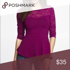 Express Peplum Lace Top Brand New Without Tag  Style: Peplum Color: Gorgeous Purple Color The sleeves are a little longer than 3/4 but not all the way Full Length and they are lace. The picture is the exact shirt you will be receiving!   This shirt has only been tried on one time!!! It needs a new home! 😀 Express Tops