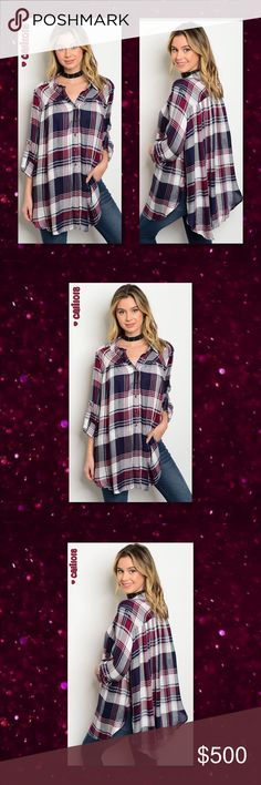 "⭐COMING IN 2-3 DAYS PRE ORDER YOUR SZ TODAY⭐ New navy and plum long tab sleeve button down plaid shirt. Color: Navy and Plum Made in China; US Sizing Material: 100% Cotton Sizes Avail: Small, Medium, Large  Approx Measurements taken from Small:  Bust: 52"" Waist: 56"" Length: 32""   **1X, 2X, 3X are also avail in my closet**   💠💠PRICE FIRM UNLESS BUNDLED💠💠 ⭐️⭐️SORRY NO TRADES AND LOWBALL OFFERS WILL BE IGNORED ⭐️⭐️ 🌺🌺ADDITIONAL MEASUREMENTS AVAIL UPON REQUEST 🌺🌺 Glam Squad 2 You Tops…"