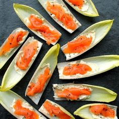 Endive with smoked salmon + Boursin cheese is an easy, no-cook appetizer. Naturally gluten free! (Baking Salmon Cheese)