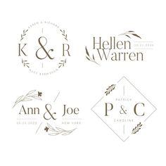 Wedding Logos, Monogram Wedding, Monogram Logo, Wedding Monograms, Badge Design, Logo Design Template, Modern Business Cards, Business Card Design, Invitation Floral
