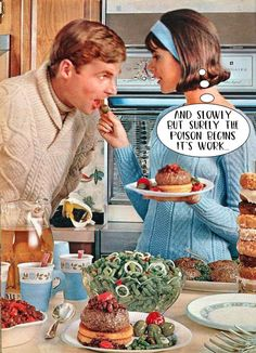 Vintage Fashion Blue head band, flip hairstyle, baby blue sweater with circle pin and you too can have a fella eating out of your hands. Retro Ads, Vintage Advertisements, Vintage Ads, Vintage Images, Retro Recipes, Vintage Recipes, Fee Du Logis, Colleen Corby, Baby Blue Sweater