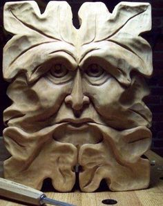 Greenman, hand-carved by Elizabeth Brown. Sculpture Head, Wood Sculpture, Holly King, Magical Tree, Nature Spirits, Celtic Art, Ancient Symbols, Animal Heads, Woodland Creatures