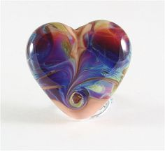 Handmade Lampwork Heart Focal Bead Purple by FireSongCreations, $25.00