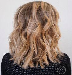 Brown+Blonde+Balayage+Lob
