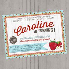 Freshly Picked Strawberry Invitation | Farmers' Market Invitation | Garden Birthday Invitation | Girls Birthday | Digital Invitation