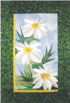 """-Daisies - Foundation Paper Piecing Pattern - 17"""""""" x 22"""""""" Quilt - This beautiful Foundation Paper Piecing pattern was designed by Eileen Bahring Sullivan and is a stunning quilt to piece. Makes a bea"""