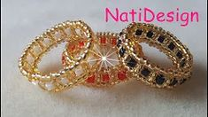 Charming Beaded Ring Tutorial Super Easy ❤ï . Diy Beaded Rings, Diy Rings, Beaded Earrings, Beaded Bracelets, Charm Bracelets, Silver Bracelets, Bead Jewellery, Seed Bead Jewelry, Beaded Jewelry