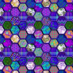 Small METALLIC MIX HEXIES 3D PURPLE fabric by paysmage on Spoonflower - custom fabric