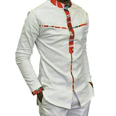 Fashion Mens Africa Festive Clothing Ankara Clothes African Print Tops Long Sleeve print and white Cotton patchwork T-shirt African Shirts For Men, African Dresses Men, African Attire For Men, African Clothing For Men, African Wear, African Suits, Ankara Clothing, African Style, Nigerian Men Fashion