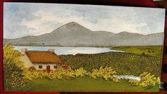 Irish Tweed Handwoven Landscape Scene Croagh Patrick by K. Tweed, County Mayo, Irish Art, Landscape Quilts, Hand Weaving, Recycled Denim, Applique, Mixed Media, Quilting