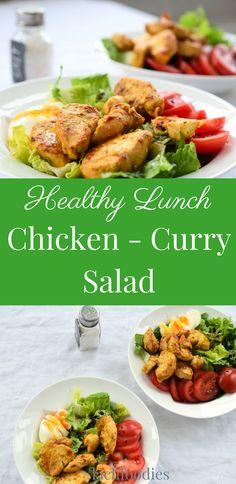 Healthy lunch: Chicken-Curry-Salad. Das Rezept für ein gesundes Mittagessen mit Huhn, Ei, Salat, Tomate und vielen Gewürzen. ......... low carb, lchf, lc, ohne Kohlenhydrate, less carbs, abnehmen, weightloss, salad recipe, salat repeat, gesund essen, healthy, healthy living, gesunde Ernährung, salat Rezepte, Feldsalat, salad recipes, saladsunday, gesunde Rezepte zum abnehmen, gesundes Rezept, healthy rezepte, hühnerbrust, Tomaten