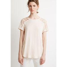 Love 21 Women's  Contemporary Lace-Paneled Tee ($15) ❤ liked on Polyvore featuring tops, t-shirts, short sleeve tops, short sleeve t shirt, curved hem t shirt, love 21 and lace inset top