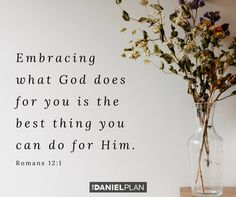 """Taking care of your body is a spiritual discipline, like prayer, worship, or Bible study. God wants you to succeed at this. The Apostle Paul says, with God helping you, """"Take your everyday, ordinary life — your sleeping, eating, going-to-work, and walking-around life — and place it before God as an offering"""" Romans 12:1 (MSG). When you take care of your body, you worship God. And it's never too late to start this important journey in your life. Bible Quotes, Me Quotes, Bible Verses, The Daniel Plan, Romans 12 1, Bible Love, Spiritual Disciplines, Saving Grace, Worship God"""