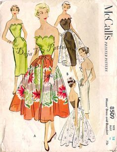 McCall's 8509 Vintage 1950s Slim Fitting Petal Bust Dress and Overskirt Sewing Pattern Size 18