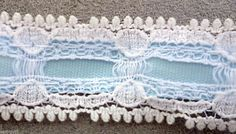 "VINTAGE-WRIGHTS LACE BEADING WITH POWDER BLUE RIBBON-10 YARDS-3/4"" W-NEW  #Wrights"