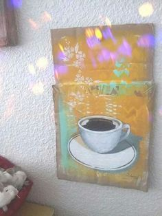 Coffee cup painting on cardboard by Amy Figueroa/ Fig Dolls