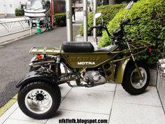 Eine Honda Motra als Trike in Japan Small Motorcycles, Custom Motorcycles, Japan Tourism, Powered Bicycle, Honda Ruckus, Bike Pic, Drift Trike, Japanese Motorcycle, Bike Trailer