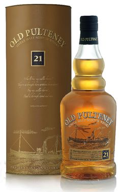 Old Pulteney ✿ 21 Year. Aromas are fresh and fragrant, with a hint of barley sugar. Vanilla extract emerges and defined sweet and honeyed notes linger. Sweet with a hint of mixed spices emerging. A hint of coastal air (sea water) develops. Light bodied. Short and subtle finish. Pulteney Distillery, Highlands, Scotland.