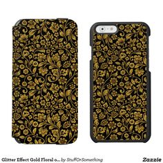 """Glitter Effect Gold Floral on Black Incipio Watson™ iPhone 6 Wallet Case Personalize your own iPhone case on Zazzle! Click the """"Customize"""" button to insert your own artwork, design, or pictures to make a one of a kind case. Try adding text using great fonts and preview your design! This easy to customize iphone 6 case has no minimum order and is made after you order. Browse and read customer reviews below detail of product page…"""