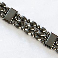 Black Lava Brown Leather Triple Wrap Bracelet/anklet In Pain Fashion Jewelry