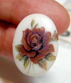 Cabochon  Rare 2 Vintage Glass Dusty Rose by bansheehouseofmake