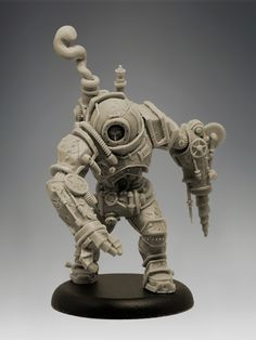 Concept: Gautier Giroud Sculptor: Gautier Giroud Scale: 35mm Size: 33mm to eye level (40mm to top of helmet) Number of Parts: 5 Material: Resin Casting: GRX Creations    Presented in a grip seal bag with a 40mm round plastic base  http://www.blacksunminiatures.co.uk/product/steam-powered-armoured-suit-mk-iii/