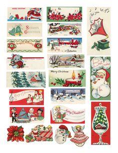 Vintage Christmas gift tags, printable size!