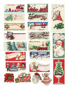 printable retro Christmas tags (DIY)