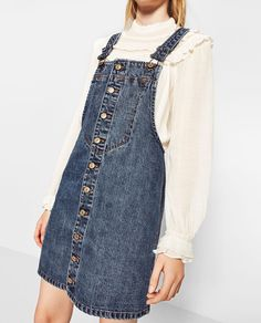 Image 2 of FRONT BUTTONED PINAFORE DRESS from Zara
