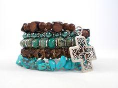 Boho Jewelry Festival Bracelet Turquoise Jasper Wood Glass Brown Blue Teal w/ Sterling Silver Celtic Cross Bohemian Bracelet Earthy Jewelry by foreverandrea on Etsy