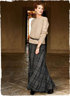 Peruvian Connection Chapin tartan skirt with bustle and Mirage baby alpaca cabled sweater - classy, unexpected combination for a winter party: http://www.peruvianconnection.co.uk
